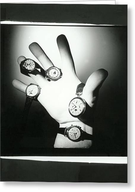 A Hand Holding A Group Of Watches Greeting Card by Horst P. Horst