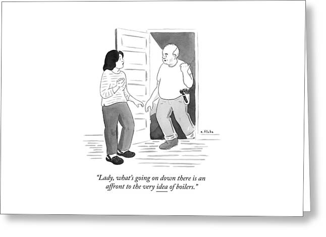 A Handyman Comes Up The Stairs From A Basement Greeting Card