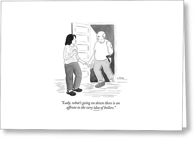A Handyman Comes Up The Stairs From A Basement Greeting Card by Emily Flake