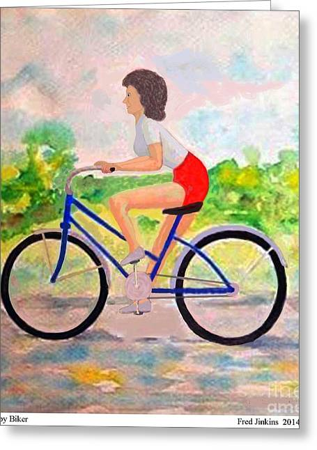 A Happy Biker Greeting Card by Fred Jinkins