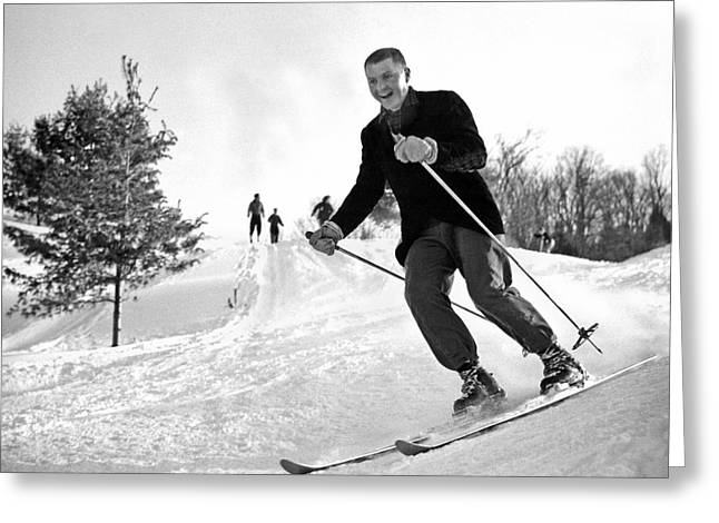 A Happy Skier In Vermont Greeting Card by Underwood Archives