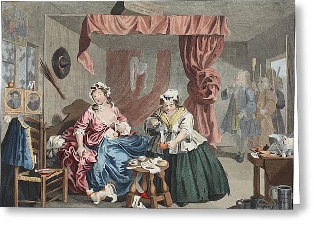 A Harlots Progress, Plate Lll Greeting Card by William Hogarth