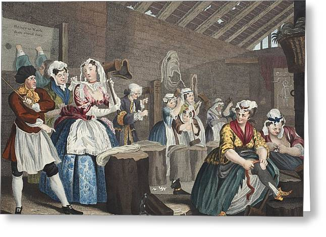 A Harlots Progress, Plate Lv Scene Greeting Card by William Hogarth