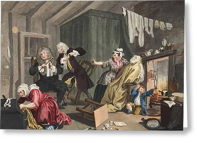 A Harlots Progress, Plate V Greeting Card by William Hogarth