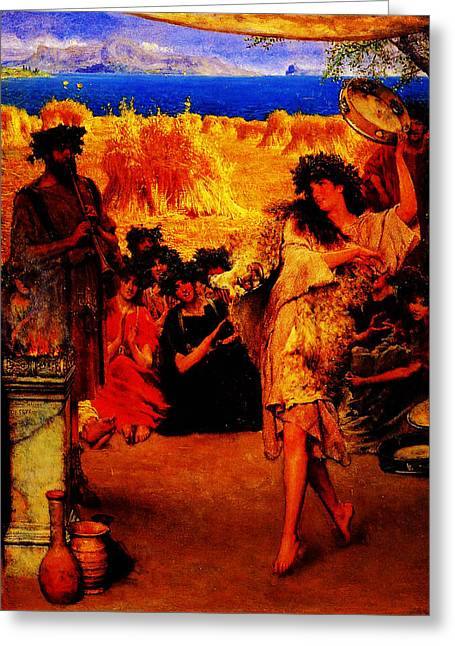 A Harvest Festival 2f A Dancing Bacchante At Harvest Time By Sir Lawrence Alma Tadema Greeting Card by MotionAge Designs