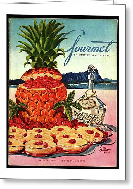 A Hawaiian Scene With Pineapple Slices Greeting Card