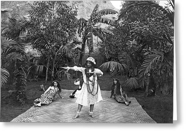 A Hawaiian Woman Dancing Greeting Card by Underwood Archives