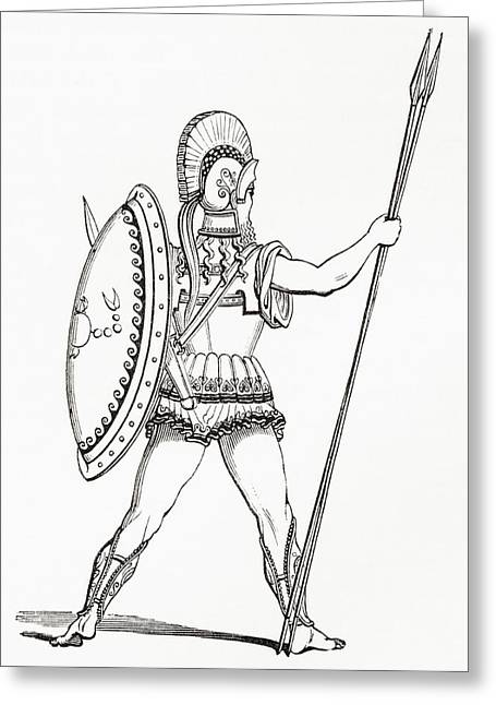 A Heavily Armed Greek Warrior Dressed For Battle.  From The Imperial Bible Dictionary, Published Greeting Card