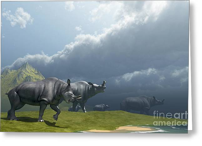 A Herd Of Brontotherium Dinosaurs Come Greeting Card by Corey Ford