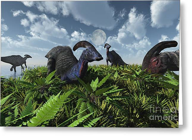 A Herd Of Herbivorous Parasaurolophus Greeting Card by Mark Stevenson