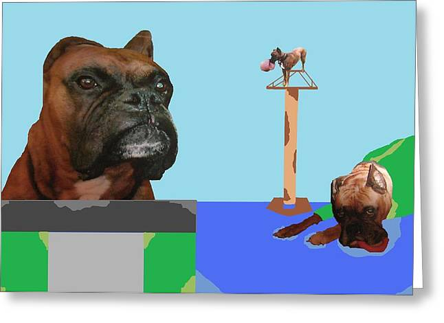 A High Climbing Boxer Greeting Card by Joan Shortridge