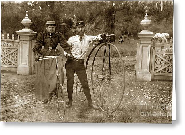 A High Wheel Bicycle Also Known As A Penny Farthing Monterey Circa 1890 Greeting Card
