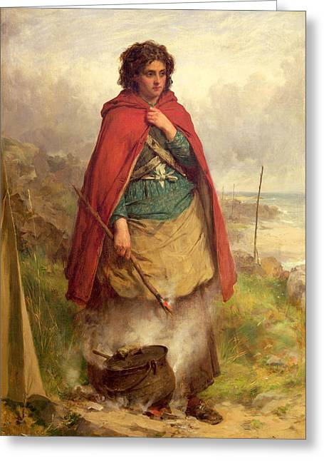 A Highland Gypsy, 1870 Oil On Canvas Greeting Card by Thomas Faed
