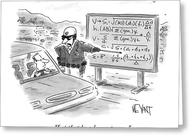 A Highway Traffic Cop Stops A Drive Greeting Card