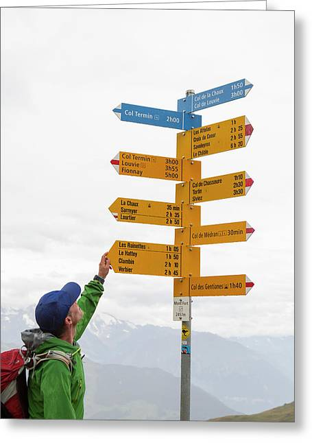 A Hiker Is Looking At A Sign Post Greeting Card
