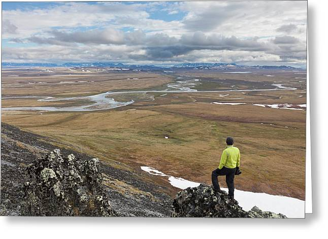 A Hiker Looks Over The Confluence Greeting Card by Hugh Rose