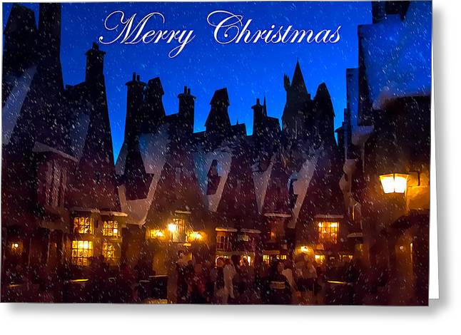 A Hogsmeade Christmas Greeting Card by Mark Andrew Thomas