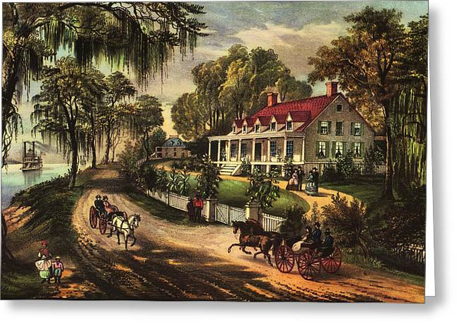 A Home On The Mississippi Greeting Card by Currier and Ives