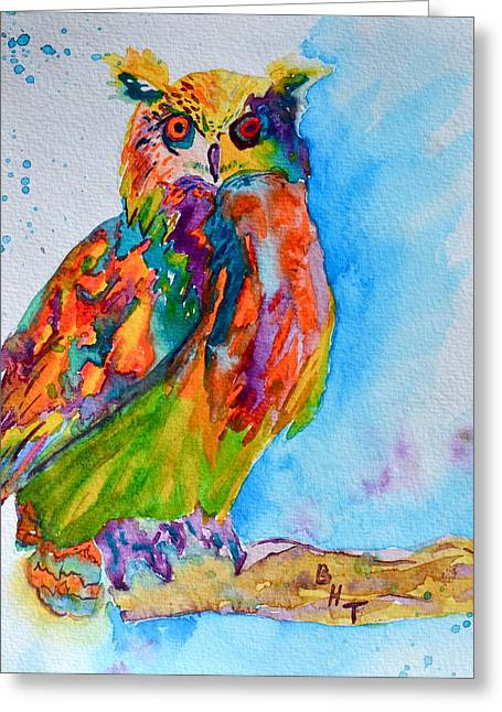 A Hootiful Moment In Time Greeting Card by Beverley Harper Tinsley