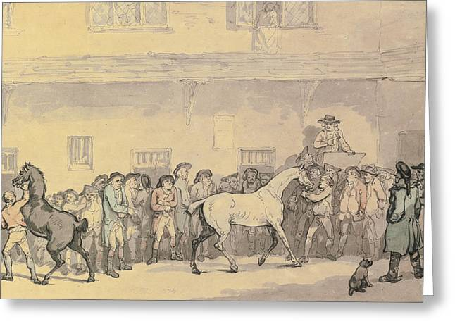 A Horse Sale At Hopkins' Repository Greeting Card by Celestial Images