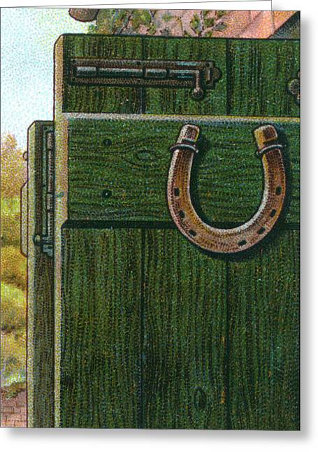 A Horseshoe Is Nailed To A  Farm Door Greeting Card