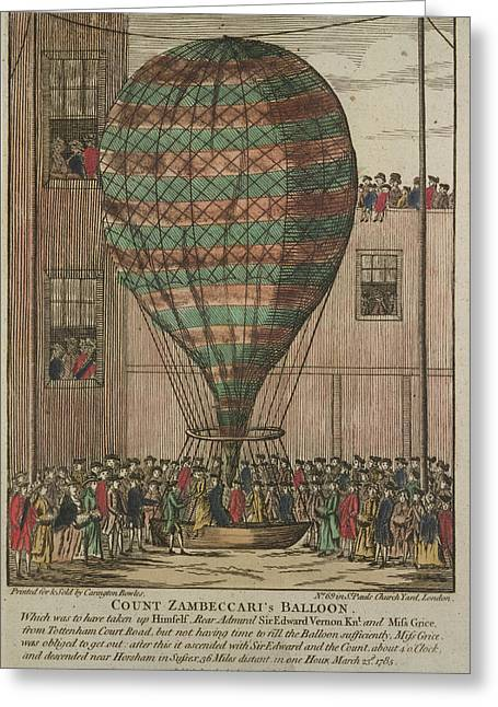 A Hot Air Balloon At Tottenham Court Road Greeting Card