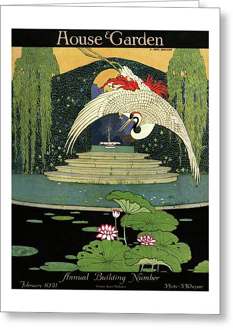 A House And Garden Cover A Bird Over A Pond Greeting Card