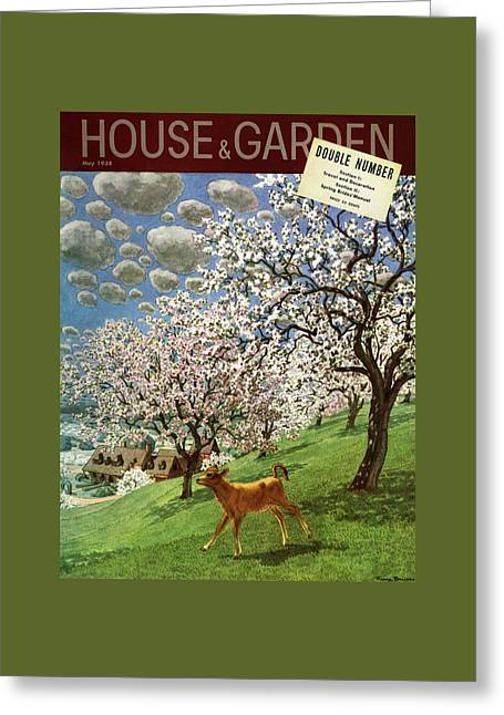 A House And Garden Cover Of A Calf Greeting Card by Pierre Brissaud