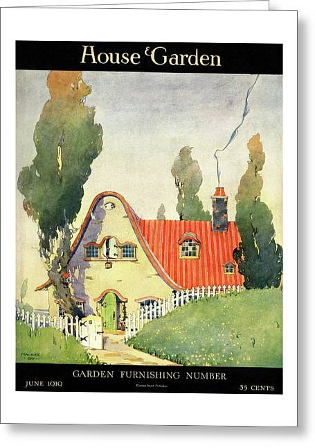 A House And Garden Cover Of A Cottage Greeting Card