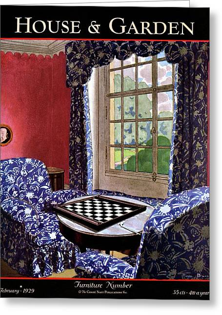A House And Garden Cover Of A Country Living Room Greeting Card