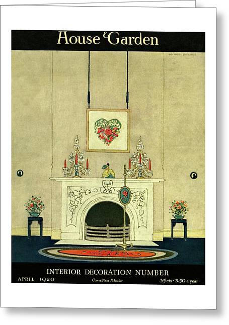 A House And Garden Cover Of A Fireplace Greeting Card