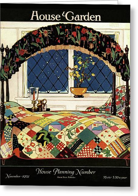 A House And Garden Cover Of A Four-poster Bed Greeting Card by Clayton Knight
