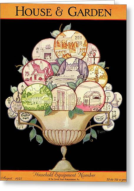 A House And Garden Cover Of A Fruit Bowl Greeting Card by Robert McQuinn