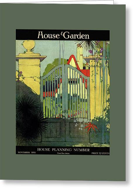 A House And Garden Cover Of A Gate Greeting Card by H. George Brandt