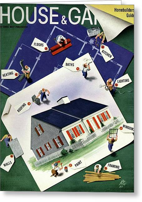 A House And Garden Cover Of A House Greeting Card