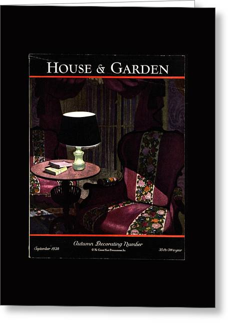 A House And Garden Cover Of A Lamp By An Armchair Greeting Card by Pierre Brissaud