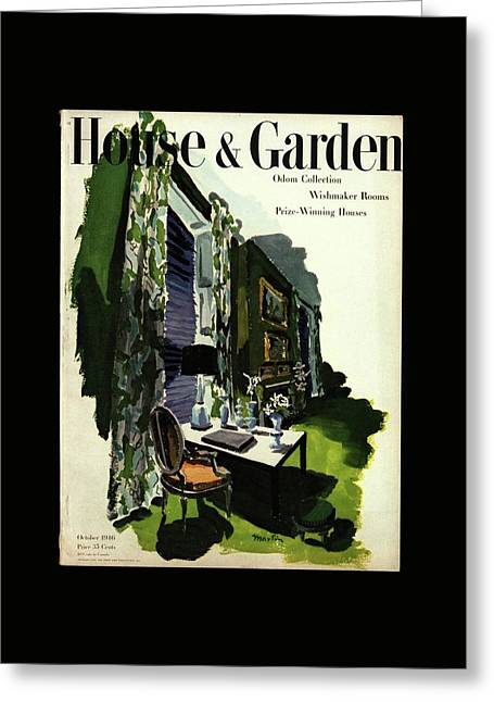 A House And Garden Cover Of A Living Room Greeting Card by Tom Martin