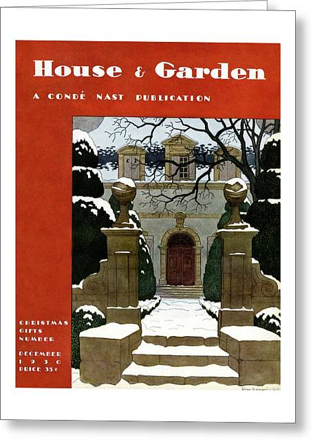 A House And Garden Cover Of A Mansion Greeting Card