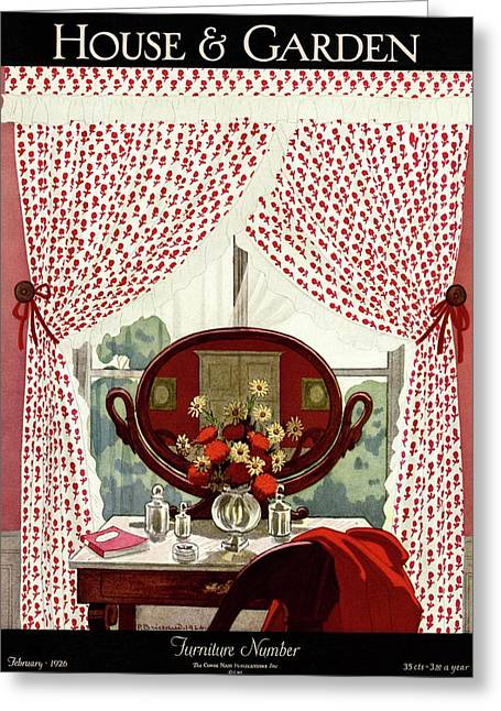 A House And Garden Cover Of A Mirror Greeting Card