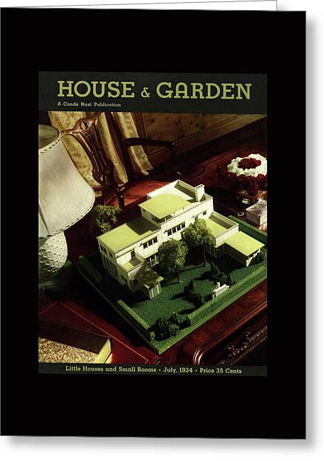 A House And Garden Cover Of A Model House Greeting Card by Anton Bruehl