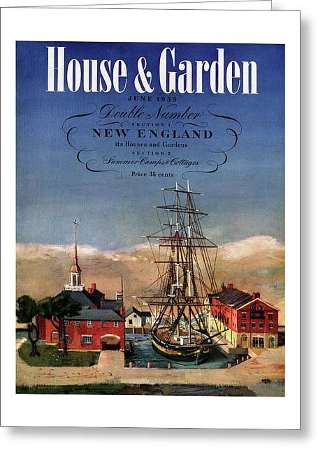 A House And Garden Cover Of A Model Ship Greeting Card
