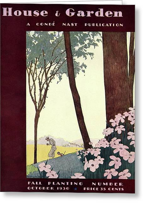 A House And Garden Cover Of A Rural Scene Greeting Card