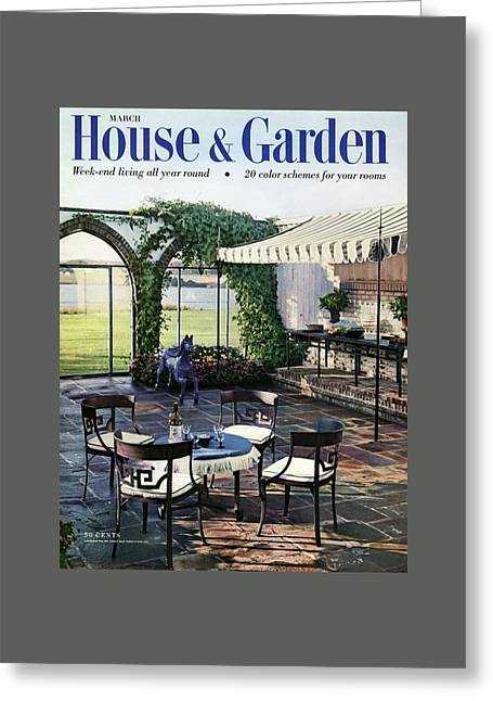 A House And Garden Cover Of A Terrace In East Greeting Card by Wiliam Grigsby