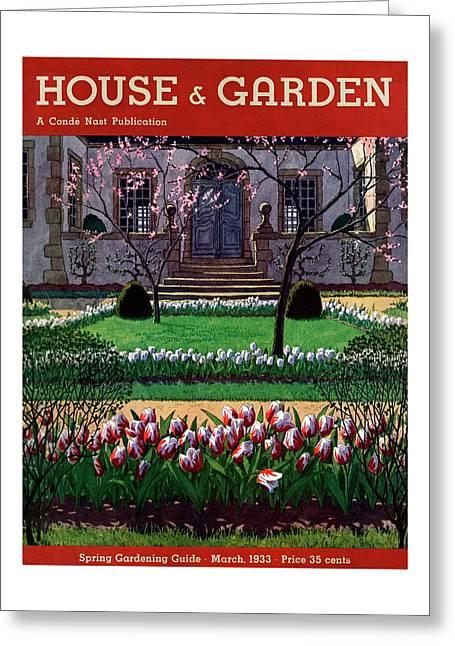 A House And Garden Cover Of A Tulip Garden Greeting Card