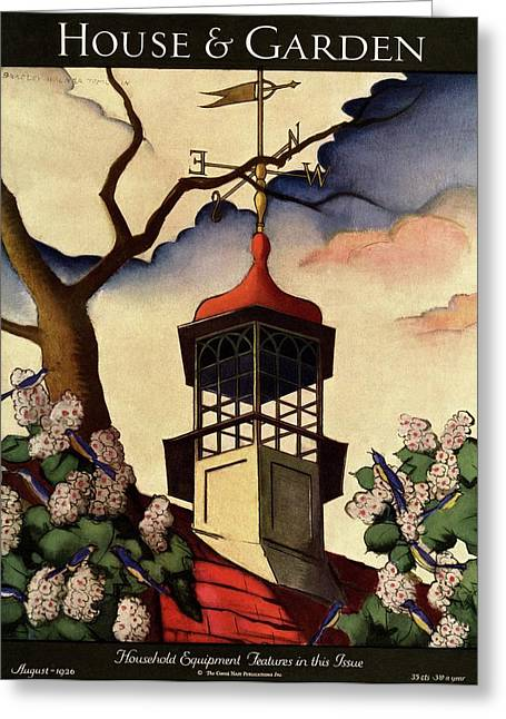 A House And Garden Cover Of A Weathervane Greeting Card by Bradley Walker Tomlin