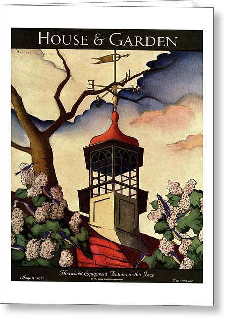 A House And Garden Cover Of A Weathervane Greeting Card