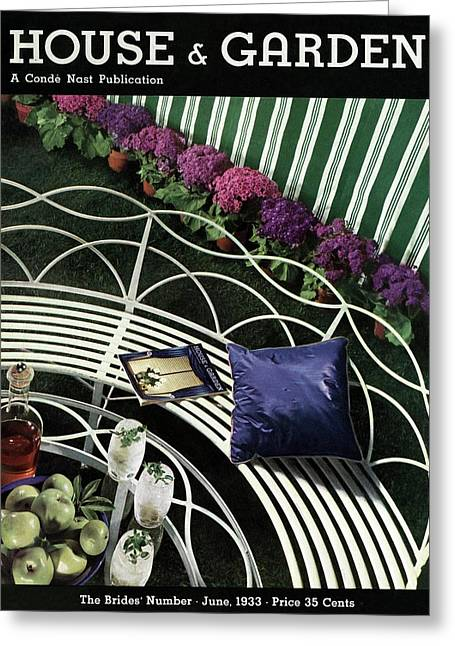 A House And Garden Cover Of A White Bench Greeting Card