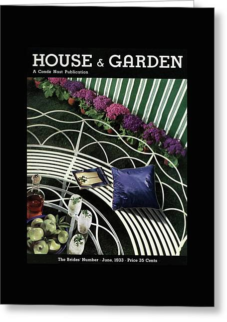 A House And Garden Cover Of A White Bench Greeting Card by Anton Bruehl