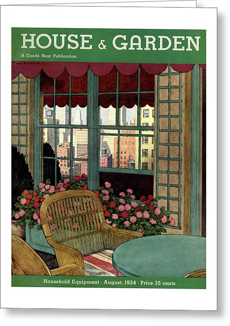 A House And Garden Cover Of A Wicker Chair Greeting Card