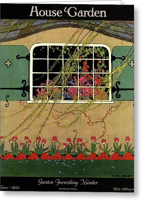 A House And Garden Cover Of A Window Greeting Card